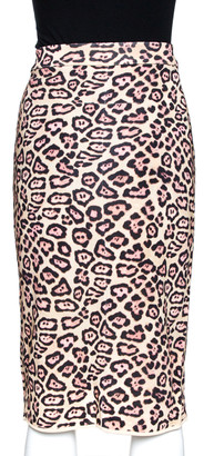 Givenchy Cream Leopard Print Knit Fitted Skirt M
