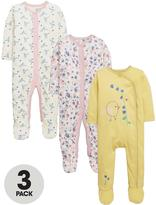 Ladybird Baby Girls Floral Sleepsuits (3 Pack)