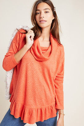 Maeve Addie Ruffled Hacci Pullover By in Orange Size XS