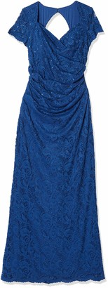 Adrianna Papell Women's Sheer Short Sleeve Lace Gown with Sequin Accents