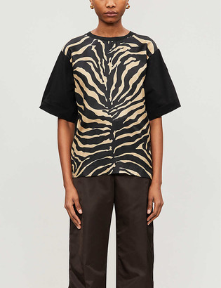 Moncler Tiger-print cotton-jersey and silk T-shirt