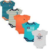 U.S. Polo Assn. Newborn Boys 5 Pack Bodysuit