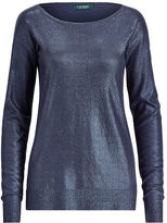 Ralph Lauren Petite Metallic Cotton-Blend Sweater