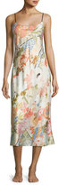 Natori Yuzen Floral-Print Gown, Antique