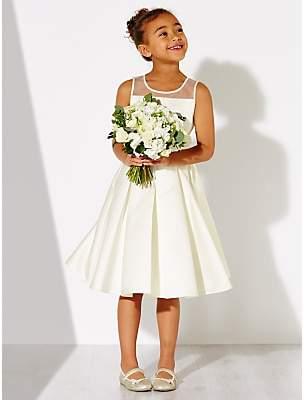 John Lewis & Partners Girls' Alice Satin Mesh Panel Bridesmaid Dress, Ivory