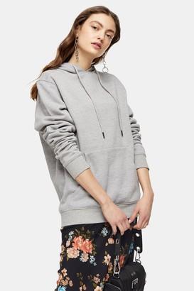 Topshop Womens Grey Clean Panel Hoodie - Grey Marl