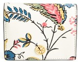 Tory Burch Women's Floral Leather Mini Wallet - White