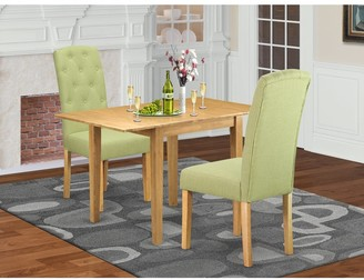 East West Furniture Rectangle Breakfast Table and Solid wood Dining Chairs with Lime Green Color Linen Fabric Seat