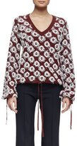 Chloé Long-Sleeve V-Neck Appliqué Pullover, Burgundy