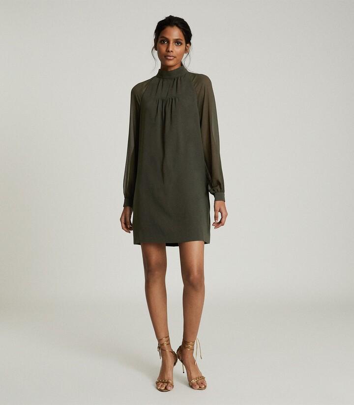 Reiss Leah - Chiffon Shift Dress in Green