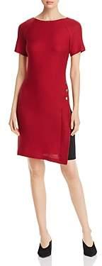 St. John Textured Button-Detail Side-Inset Dress