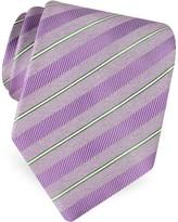 Forzieri Gold Line- Pin Striped Diagonal Lines Woven Silk Tie