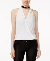 Lily Black Juniors' Crystal-Pleated Choker Top, Created for Macy's
