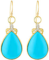 Jude Frances Large Pear Turquoise Fleur Dangle & Drop Earrings w/ Diamonds