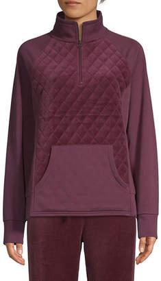 ST. JOHN'S BAY SJB ACTIVE Active Womens Long Sleeve Quarter-Zip Pullover