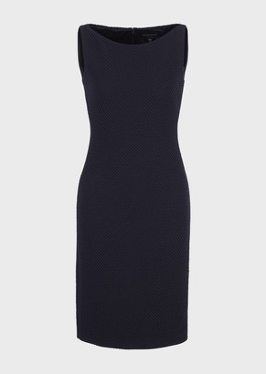 Emporio Armani Tube Dress In Embossed Stretch Knit