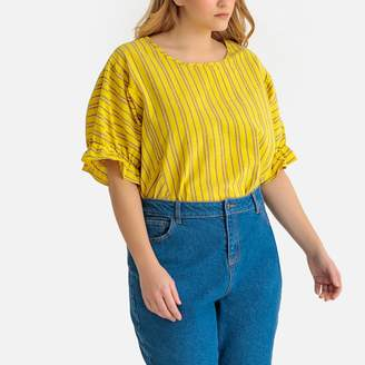 La Redoute Collections Plus Striped Cotton Blouse with Short Ruffled Sleeves and Crew Neck