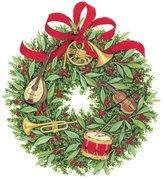 Caspari Ornament Tag with Header, Musical Wreath