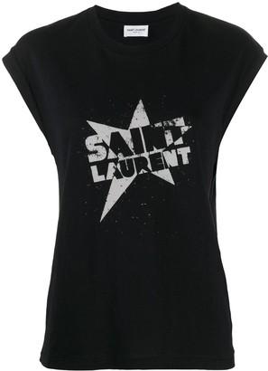 Saint Laurent logo star print T-shirt