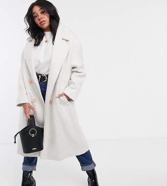 Asos DESIGN Curve brushed statement button coat with hero buttons in cream