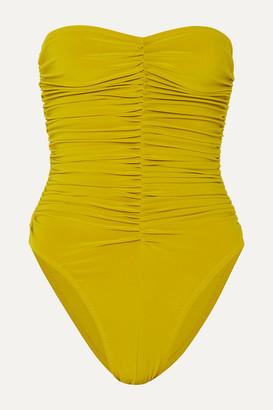 Norma Kamali Marissa Ruched Bandeau Swimsuit - Chartreuse
