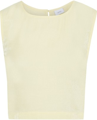 Onia Charlotte Cropped Metallic Crinkled-gauze Top
