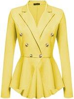 CLJJ7 Women's Slim Work Office Laple Double Breasted Blazer Jacket Candy Color