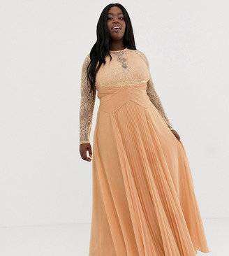 Asos DESIGN Curve long sleeve lace panelled pleat maxi dress-Orange
