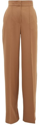 Sara Battaglia High-rise Wide-leg Crepe Trousers - Womens - Light Brown