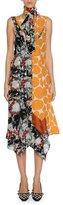 Marni Patchwork Placed-Print Silk Tie-Neck Midi Dress, Orange Pattern