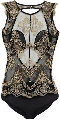 I.D. Sarrieri Cutout Metallic Embroidered Tulle Bodysuit