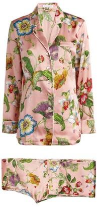Olivia von Halle Silk Lila Floral Pyjama Set
