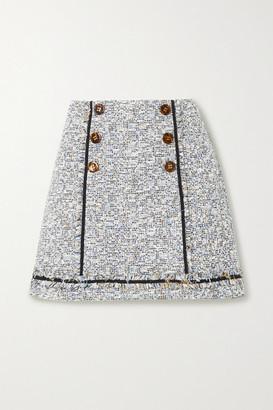 Veronica Beard Alfie Button-embellished Frayed Cotton-blend Tweed Mini Skirt