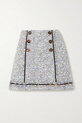 Veronica Beard Alfie Button-embellished Frayed Cotton-blend Tweed Mini Skirt - Gray