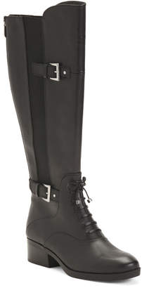 Lace Up Leather Knee High Boots