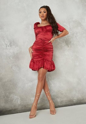 Missguided Red Satin Crinkle Ruched Milkmaid Mini Dress