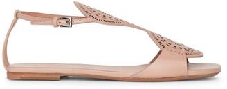 Alaia Laser-cut leather flat sandals