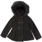 Urban Republic Black Faux Fur-Accent Pleated Peacoat - Toddler & Girls