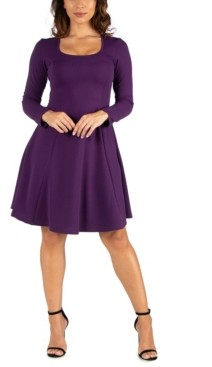 24seven Comfort Apparel Women's Long Sleeve Knee Length Skater Dress