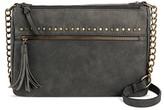 Bueno Women's Faux Leather Pebble Stud Crossbody Handbag with Zip Closure