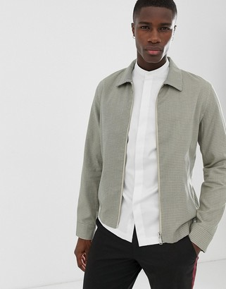 Selected cotton blouson jacket with mini grid check