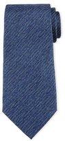 Armani Collezioni Striped Linen-Effect Silk Tie, Blue