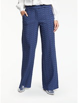 Max Studio Wide Leg Jacquard Trousers, Dark Navy