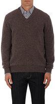 Ermenegildo Zegna Men's Brushed Alpaca-Blend V-Neck Sweater-TAN