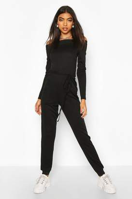 boohoo Tall Rib Knit Off The Shoulder Jumpsuit