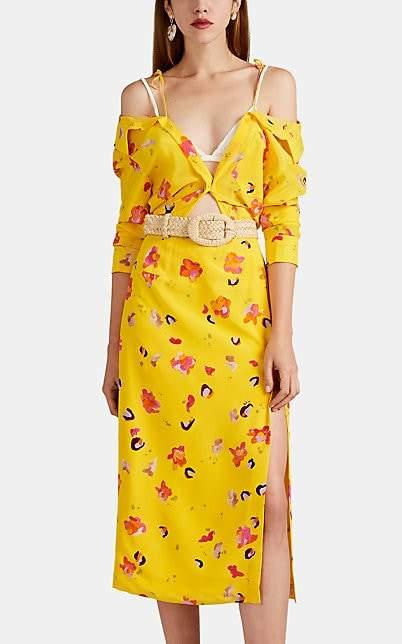 Altuzarra Women's Adele Floral-Print Silk Off-The-Shoulder Shirtdress - Pollen