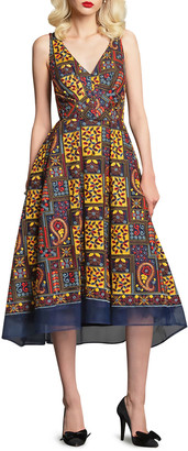 Eva Franco Charlotte Paisley Embroidered Sleeveless Midi Dress