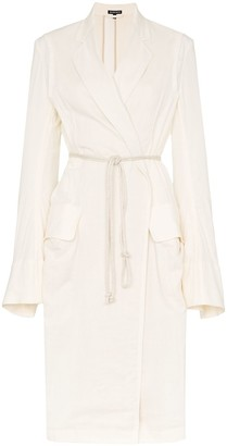 Ann Demeulemeester loose fit tie waist mid-length trench coat