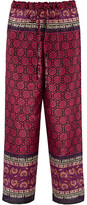 Anna Sui Printed Silk And Cotton-blend Pants - Magenta