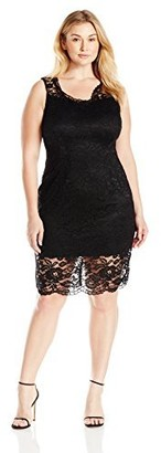 Marina Women's Plus Size Corded Lace Cap Sleeve Cocktail V Neck Scallop Hem